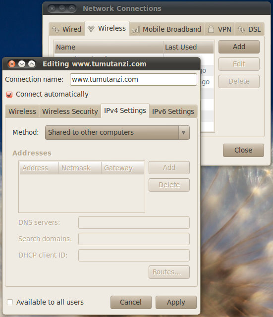 将笔记本电脑设置成WiFi无线上网共享热点
