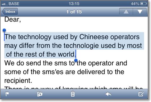 比利时手机无法向中国手机用户发送短信